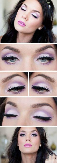 Sombra lila y violeta, labios rosa