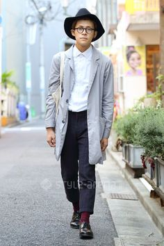 fedora + grey coat + white button up + glasses + oxfords
