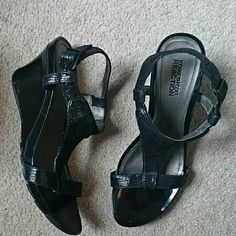 "Kenneth Cole Reaction Wedges Cute black leather sandals have 3"" patent leather wedges. Adjustable side buckle. Textured straps. Only worn once. Minor scuffs on inside of both heels indicated by pic 3. Kenneth Cole Reaction  Shoes"