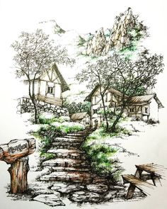 Art Drawing Tips Landscape Architecture Drawing, Landscape Sketch, Landscape Drawings, Watercolor Landscape, Landscape Art, Watercolor Paintings, Drawing Scenery, Nature Drawing, Garden Drawing