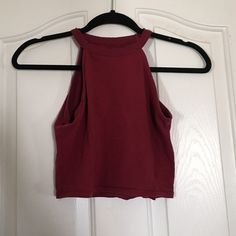 burgundy halter top never worn // great for summer // listed as brandy for exposure Brandy Melville Tops Crop Tops