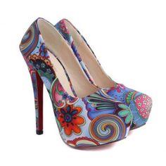 Flower Print and Stiletto Heel Design Pumps For Women