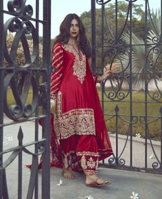 Beautiful ensemble crafted in traditional manner with contemporary and dreamier cuts. _ Colour options available _ _ Made to order /Custom… Indian Bridal Outfits, Pakistani Wedding Outfits, Indian Bridal Wear, Indian Designer Outfits, Designer Dresses, Designer Sarees, Shadi Dresses, Pakistani Dresses Casual, Pakistani Dress Design