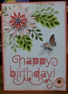Flower Patch by Veronica Kettle (Australia) Butterfly Cards, Flower Cards, Paper Flowers, Hand Made Greeting Cards, Birthday Cards For Women, Flower Patch, Stamping Up Cards, Paper Cards, Creative Cards