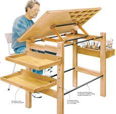 Drafting table fine woodworking - idea for adding shelves to my drafting table