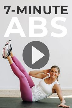 Challenge every abdominal muscle you have with this 7 MINUTE ABS WORKOUT! An intense ab workout you can do at home with no equipment. It's 7 of the best ab exercises for women, targeting the entire core; including the lower abs. Add this 7-minute ab workout onto your next home workout! 7 Minute Ab Workout, 7 Minute Abs, Intense Ab Workout, Abs Workout Video, Barre Workout, Short Workouts, Lower Ab Workouts, Ab Exercises, Easy Workouts