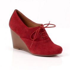 Red Lace-Up Wedge.