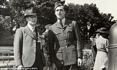 Lieutenant Trevor-Roper pictured with Barnes Wallis, the inventor of the bouncing bomb, at...