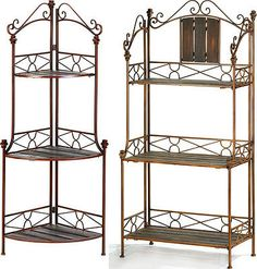 Corner Bakers Rack With Storage Brilliant Vtgwrought Iron Folding Corner Shelfshabby Chic Hand Paintedvery Design Ideas