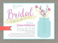 Flower Jar Bridal Shower Invitation - Digital/Printable #etsy #summerrainedesigns #bridalshower #masonjar #balljar #rustic perfect for any shower!