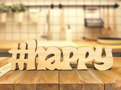 Mot en bois contreplaqué - #HAPPY
