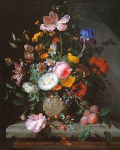 Jacob van Walscapelle-Blumenstrauß in einer Steingutvase