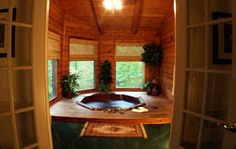 bedroom hot tub   ... private 1-bedroom cabin with a hot tub. photo by Forrest Hills Resort