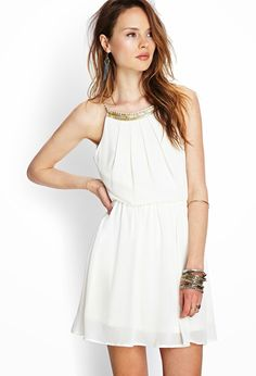 Beaded Open-Back Chiffon Dress - Dresses - 2000121583 - Forever 21 EU Chiffon Dress, Dress Skirt, Dress Up, Forever 21, Summer Outfits, Cute Outfits, Summer Dresses, Look Boho, Mein Style