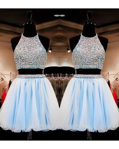 Sweet 16 Gowns Light Sky Blue Tulle Short Homecoming Dresses Dress 2 Pieces With Beading | Dressmeet.com