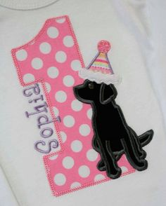 Black Lab Puppy Dog First Second Third Birthday by bebeboutiques
