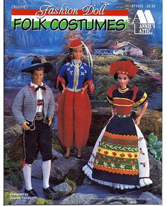 Barbie will fit right in with these traditional crochet folk costumes from around the world. Pattern on Etsy