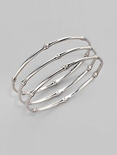 John Hardy Set of Three Sterling Silver Bracelets
