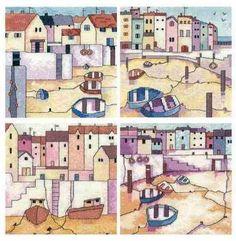 Painted Harbours Set of 4 - Heritage Crafts Karen Carter Cross Stitch