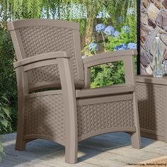 Suncast Elements Club Chair with Storage - Lightweight, Resin, All-Weather Outdoor Storage Chair - Built in Storage Capacity up to 11 lbs. Patio Dining Chairs, Outdoor Chairs, Outdoor Furniture, Outdoor Decor, Outdoor Stuff, Outdoor Ideas, Storage Chair, Outside Decorations, Built In Storage