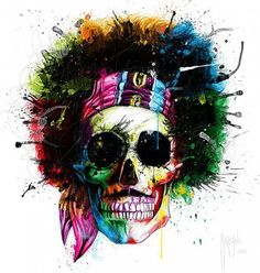 """Chic """"Woodstock Skull"""" by Patrice Murciano Graphic Art on Wrapped Canvas by Jaxson Rea Wall Art Decor from top store Arte Pop, Woodstock, Artist Painting, Diy Painting, Skull Painting, Wallpaper Caveira, Murciano Art, Patrice Murciano, Bel Art"""