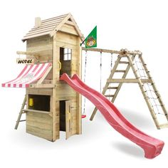 Das Spielgerät für den Garten aufbauen und aufstellen! WICKEY Mindys Fun Hotel Spielturm Kletterturm Verkaufsladen Holz Schaukel | eBay