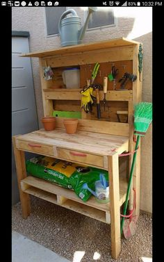 #Garden, #PalletTable, #PottingBench, #ReclaimedPallet, #Workbench Use 3/4 of 3 pallets for the back, the work top and the bottom shelf. Remove the boards of the remaining 1/4 pallets to fill in the shelves and make extra shelves on the back. The back legs are 5'ish 2x4s, and the front legs are 3' 2x4s. I used peg