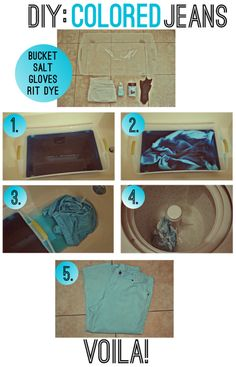 DIY colored jeans-I might try it!