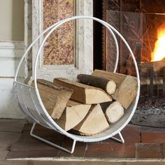 I see these all the time in retro antique stores...what a good idea for fireplace storage via grahamandgreen.co.uk