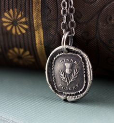 Wax Seal Pendant Scottish Thistle Necklace -  Sterling Silver Dinna Forget - Remembrance -  Handmade