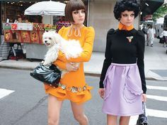 Lunch Break - From left: Miu Miu's wool dress with metal appliques, at select Miu Miu boutiques, miumiu.com. Tom Binns earrings; Miu Miu bag. Miu Miu's wool dress, net-a-porter.com. Lanvin earrings; Tom Binns brooch; Prada bag.  Beauty Note: Smoky eyes always need a reliable rim. Cover Girl LiquiLine Blast EyeLiner rises to the occasion. Photography by Terry Richardson Styled by Alex White July 2010