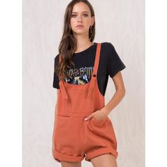 Rust Sloan Denim Overalls ($49) ❤ liked on Polyvore featuring jumpsuits, overalls jumpsuit, maxi jumpsuit, denim bib overalls, denim overalls and playsuit romper