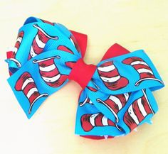 Cat in the Hat Layered Boutique Hair Bow by fortheloveofzebra, $5.00