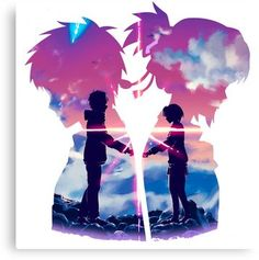Anime Couples Kimi No Na Wa - Your Name Canvas Print - Canvas print. Arrives ready to hang. Additional sizes are available. Beautiful scene from Kimi No Na Wa - Your Name Anime Love Couple, Cute Anime Couples, Kawaii Anime, Mitsuha And Taki, Kimi No Na Wa Wallpaper, Your Name Wallpaper, Name Drawings, Your Name Anime, Name Canvas