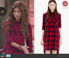 KC's red plaid shirt on KC Undercover.  Outfit Details: http://wornontv.net/47456/ #KCUndercover