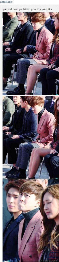 Suho,u ok there? | Poor baby!!  I recognize that look of agony.  Someone find him a bathroom!  LOL