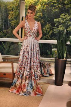 vestido de festa estampado                                                                                                                                                                                 Mais