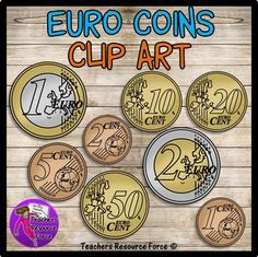 Euro Coins clip art: 1c, 2c, 5c, 10c, 20c, 50c, 1, 2 - color and black lineYou can get your own unique quality line drawings of Euro coins, commercial use welcome. Includes both color and black and white versions of the tails side of the coins.Includes all Euro coins: 1c, 2c, 5c, 10c, 20c, 50c, 1 and 2Uncover new ways to teach your students about European money or even educate students from around the world about money from different countries!