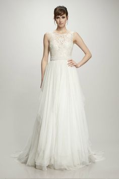 179c2cbccd16 A whimsical modern ballgown style wedding dress with a chantilly lace  bodice