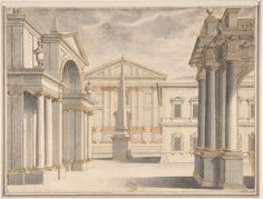 Piazza with Obelisk - Anonymous, Italian, 16th century (Italian, active Central Italy, ca. 1550–1580) - Pen and brown ink, washed with gray - Dim: 7-1/2 x 10 in. (19.1 x 25.4 cm).