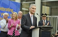 Jeff Smisek, president and CEO of United Airlines, announces a direct flight from Denver International Airport to Tokyo.