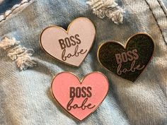 Boss Babe Heart Enamel Pin by CoolQueenCollective on Etsy
