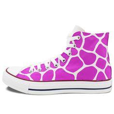 Converse All Star Purple Giraffe Pattern Shoes Women Men Hand Painted Sneakers High Top Canvas