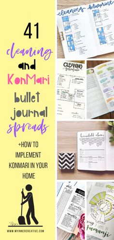 ideas for spring cleaning bullet journal spread
