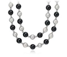 """Black Onyx and Gray Freshwater Cultured Pearl Necklace with Sterling Silver  - 36"""" Long"""