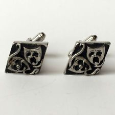 Vintage silver tone theater masks cufflinks in kite shape with antiqu... Lot 250