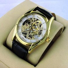 Men's Wirst Watch, Elegant Gold Tone, Skeleton, Stainless Steel | ODONATUM - Accessories on ArtFire