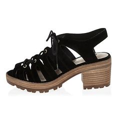 Black chunky gladiator mid heel sandals £20.00