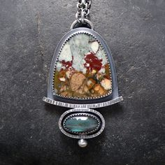 Sterling Silver Necklace with Rocky Butte Picture Jasper and Labradorite by McComseyDesigns