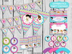 Gymnastic Party Package Personalized Invitation Included